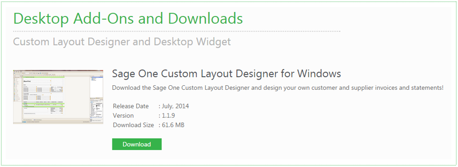 Sage One Custom Layout Designer - Invoice to go desktop download