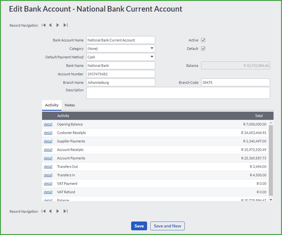 bank account name example