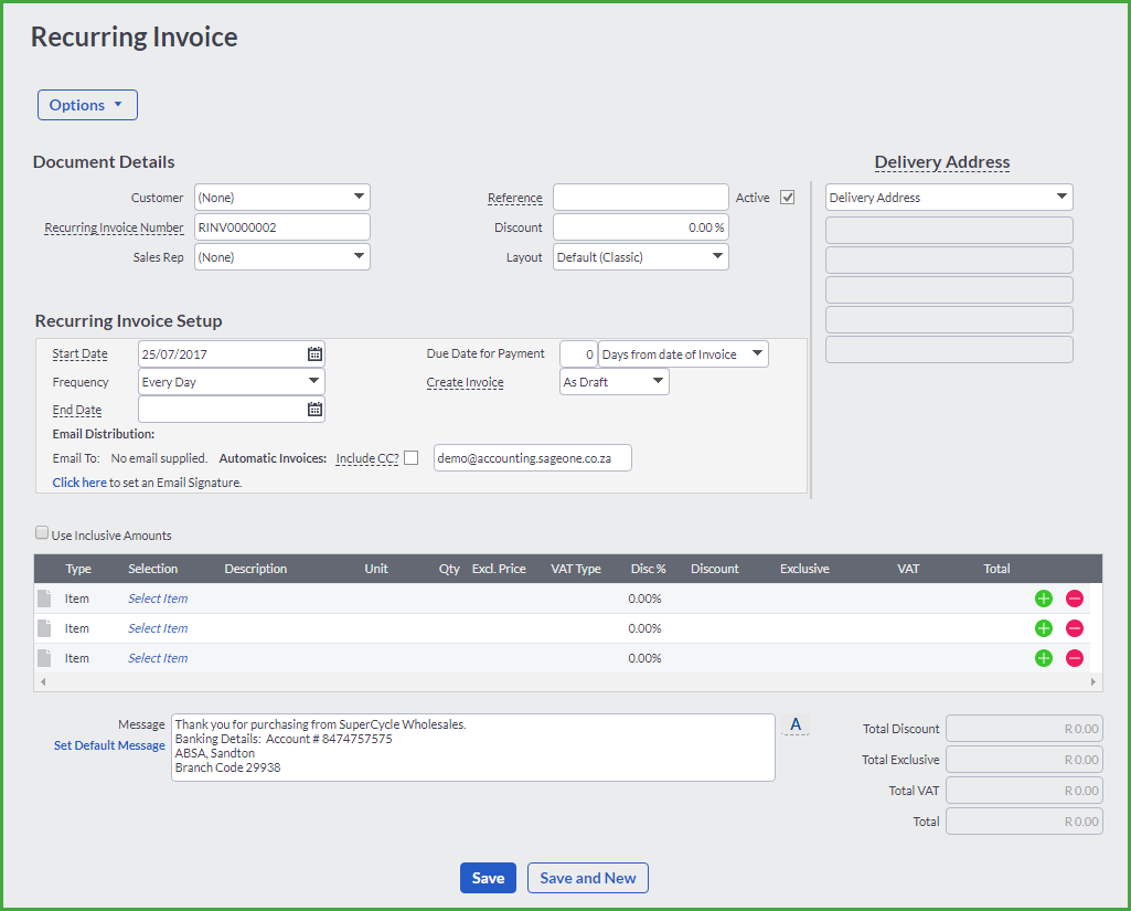 Recurring Invoices - Create invoice email