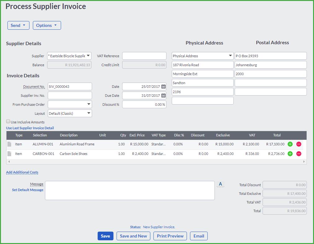 Supplier Transactions