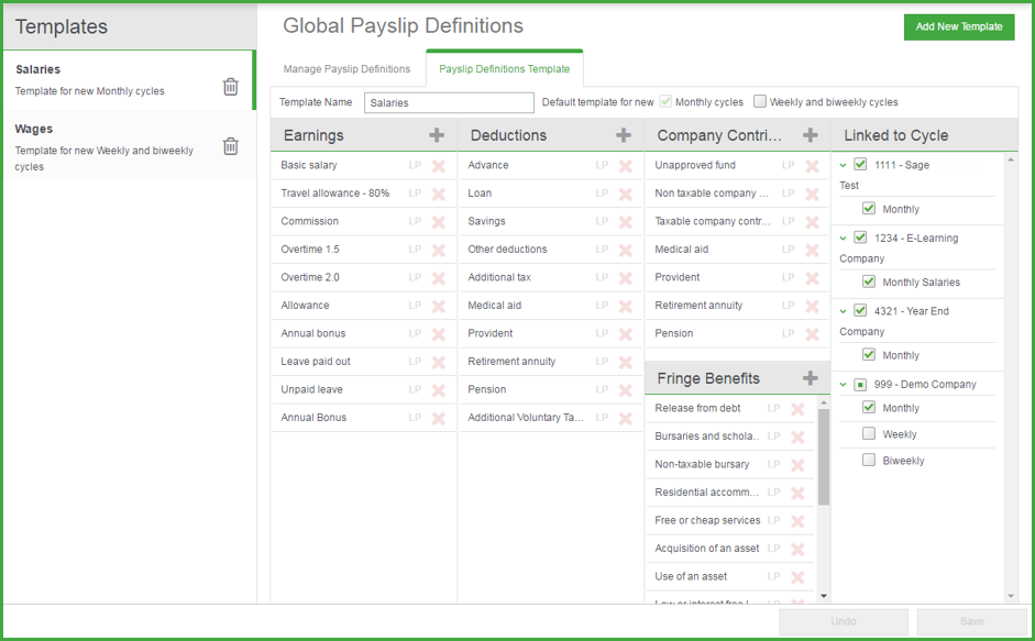 Payslip definition templates