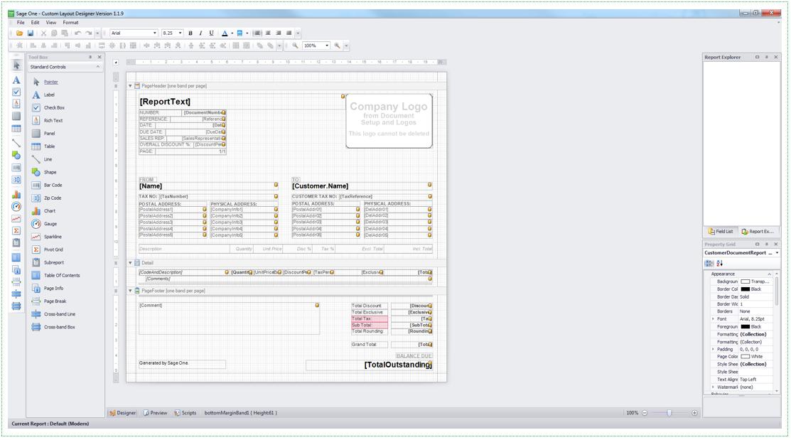 Sage One Custom Layout Designer for Windows